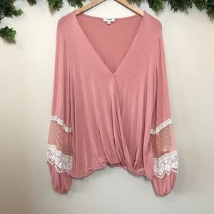 Umgee Dusty Pink Lace Top